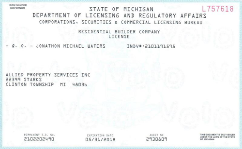Allied Property Service  - Certificate